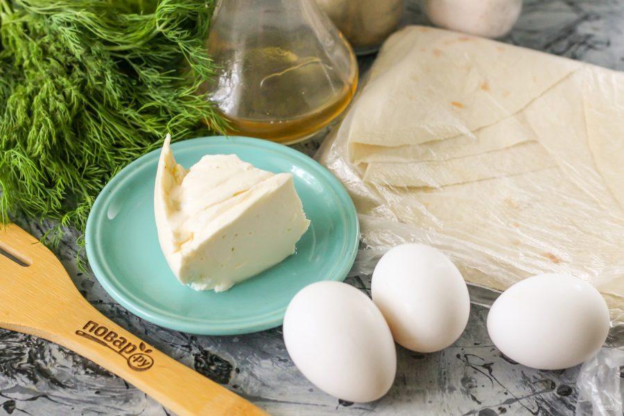 Ингредиенты для лаваша с брынзой