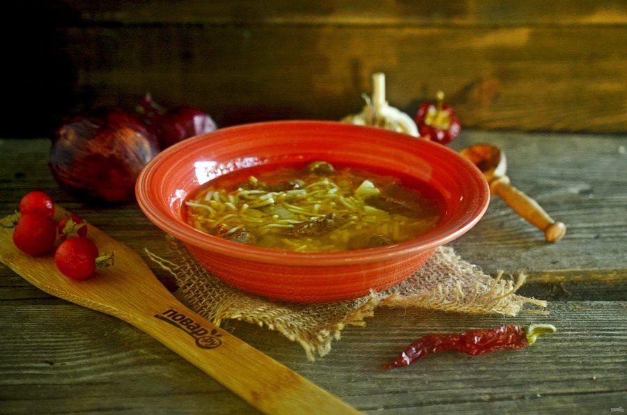 Деревенский суп с печенью