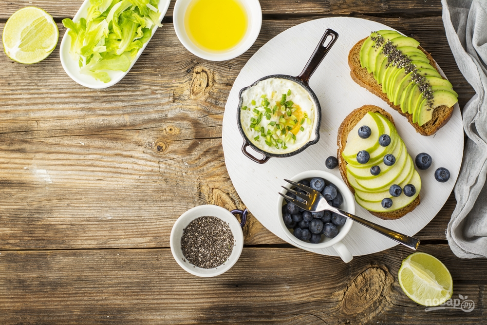 Полезный завтрак с авокадо