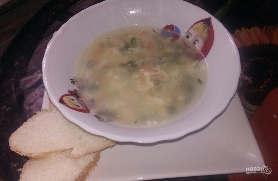 Суп из хека с яйцом и рисом