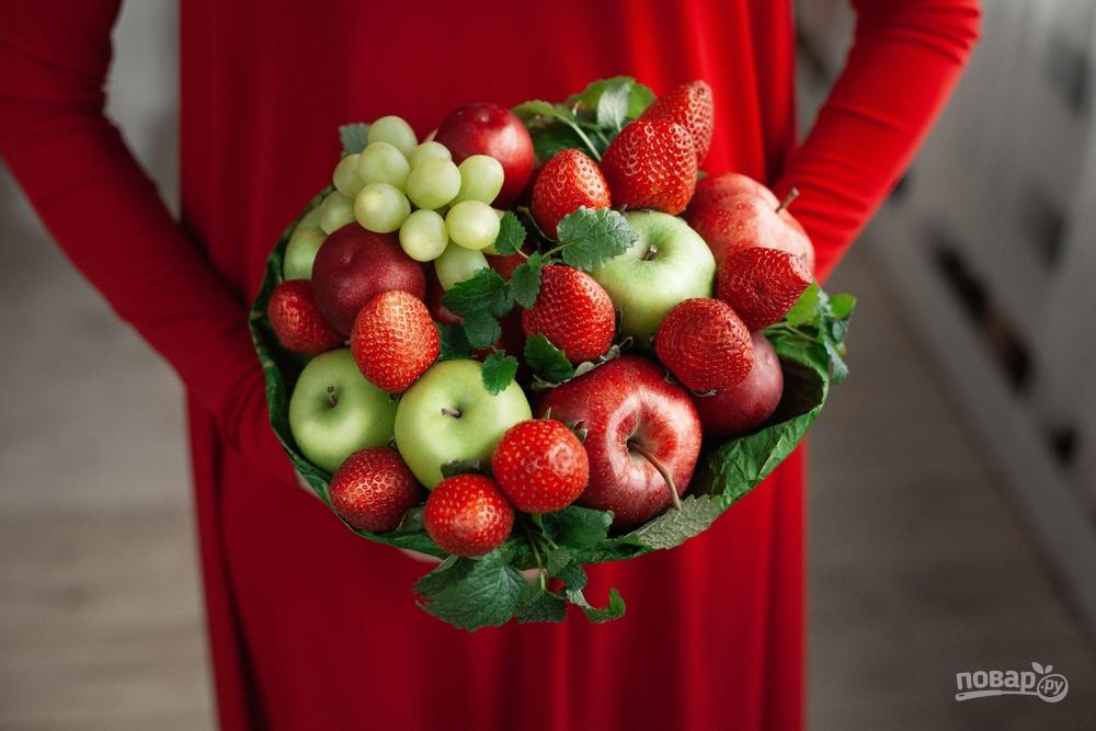 Съедобный букет с яблоками