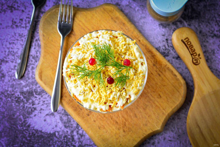 """Салат """"Мимоза"""" с корейской морковью"""
