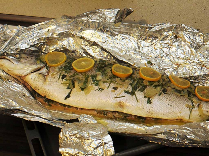 Рыба на гриле в духовке