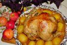 Курица с яблоками и картофелем в духовке