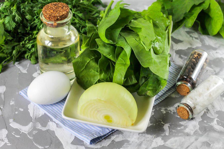 Ингредиенты для супа из шпината с яйцом