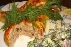 Фаршированная голень курицы с грибами