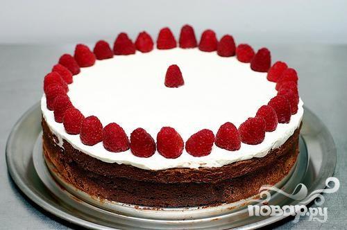 Двойной шоколадный торт с малиной