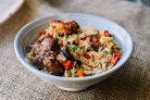 Рёбрышки с овощами и рисом