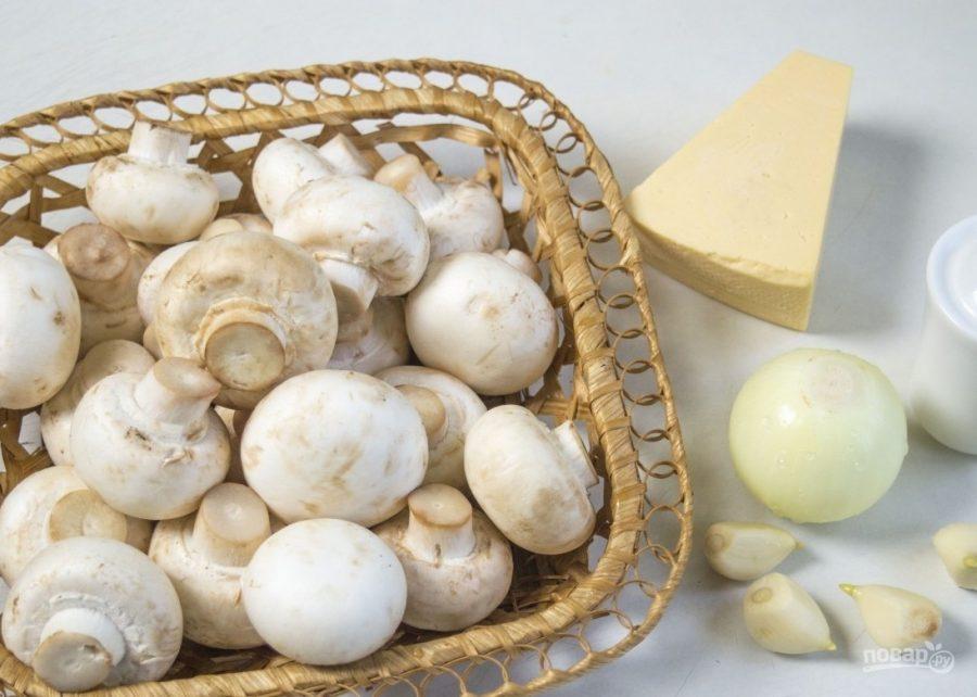 Фаршированные шампиньоны с сыром и зеленью