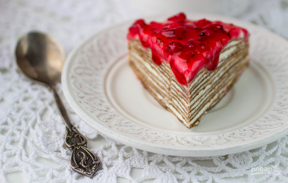 Блинчатый пирог со сметанным кремом