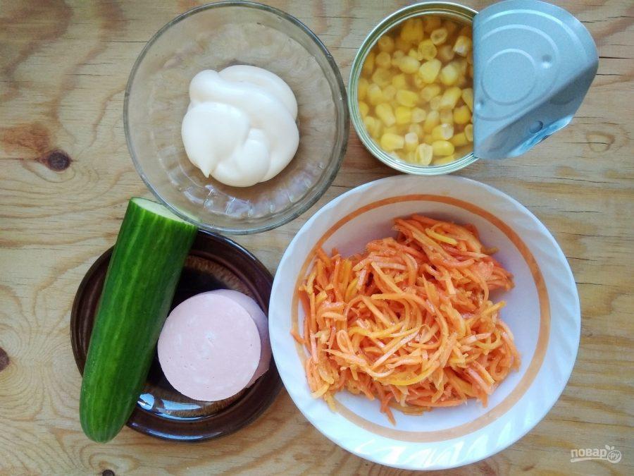 Салат из кукурузы и моркови по-корейски