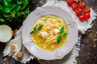 Суп с курицей и спагетти