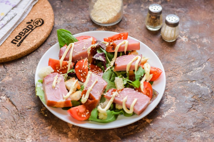Салат с балыком