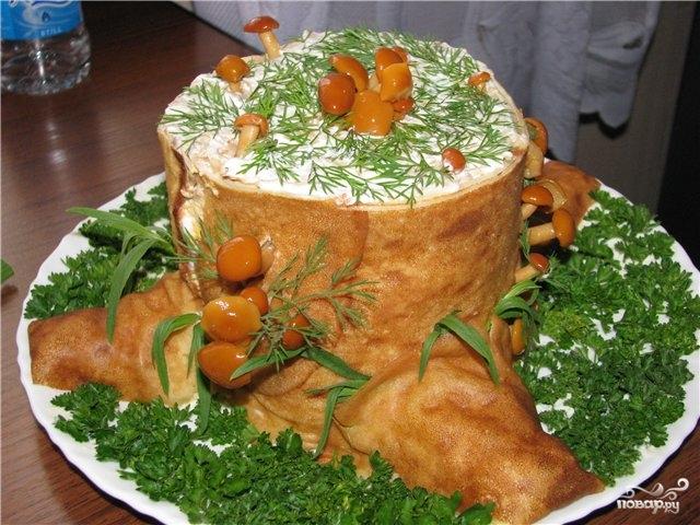 Рецепт салата полянка с опятами
