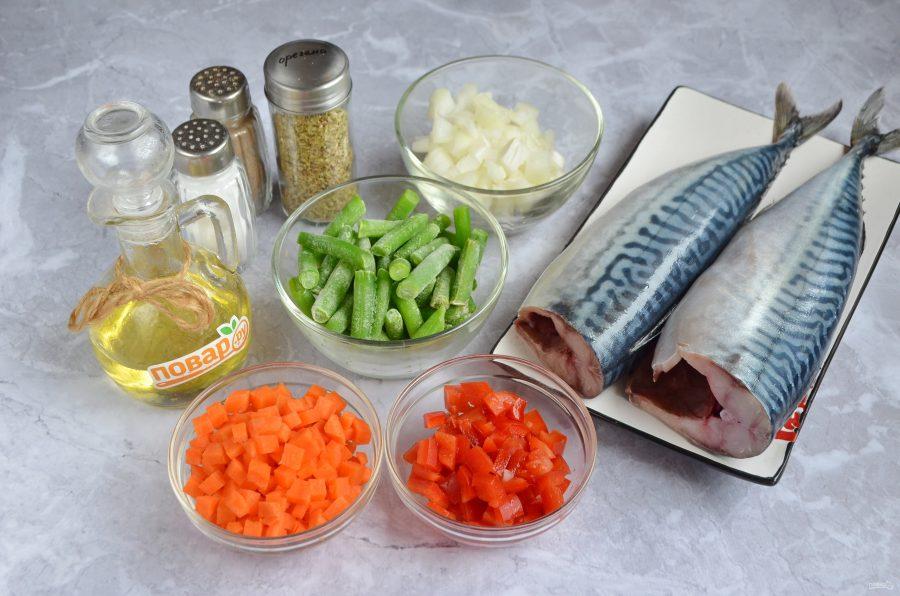 Скумбрия, фаршированная овощами