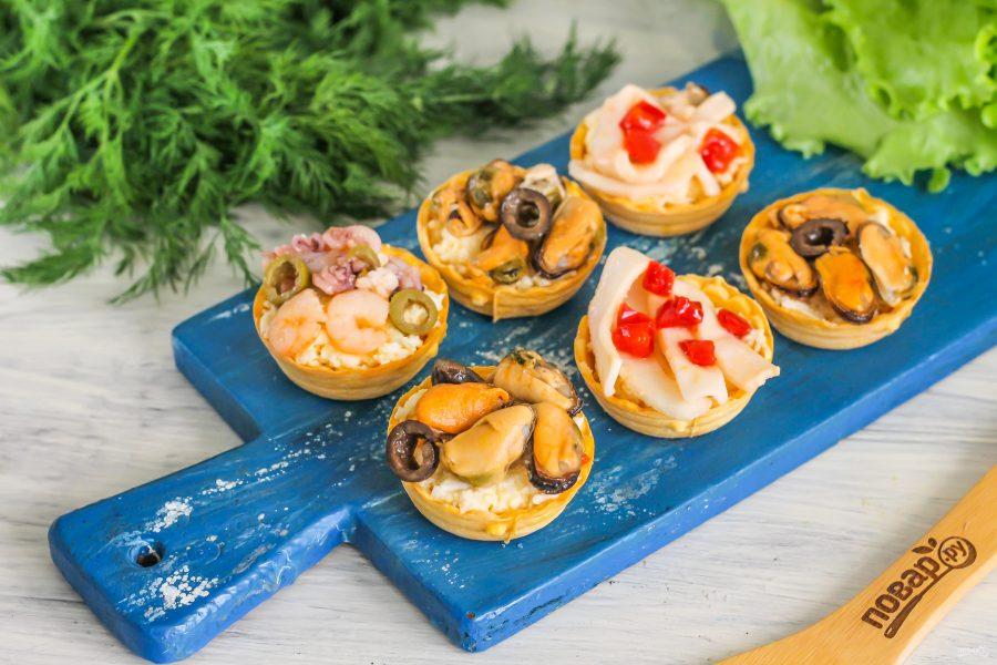 Яичный салат с морепродуктами