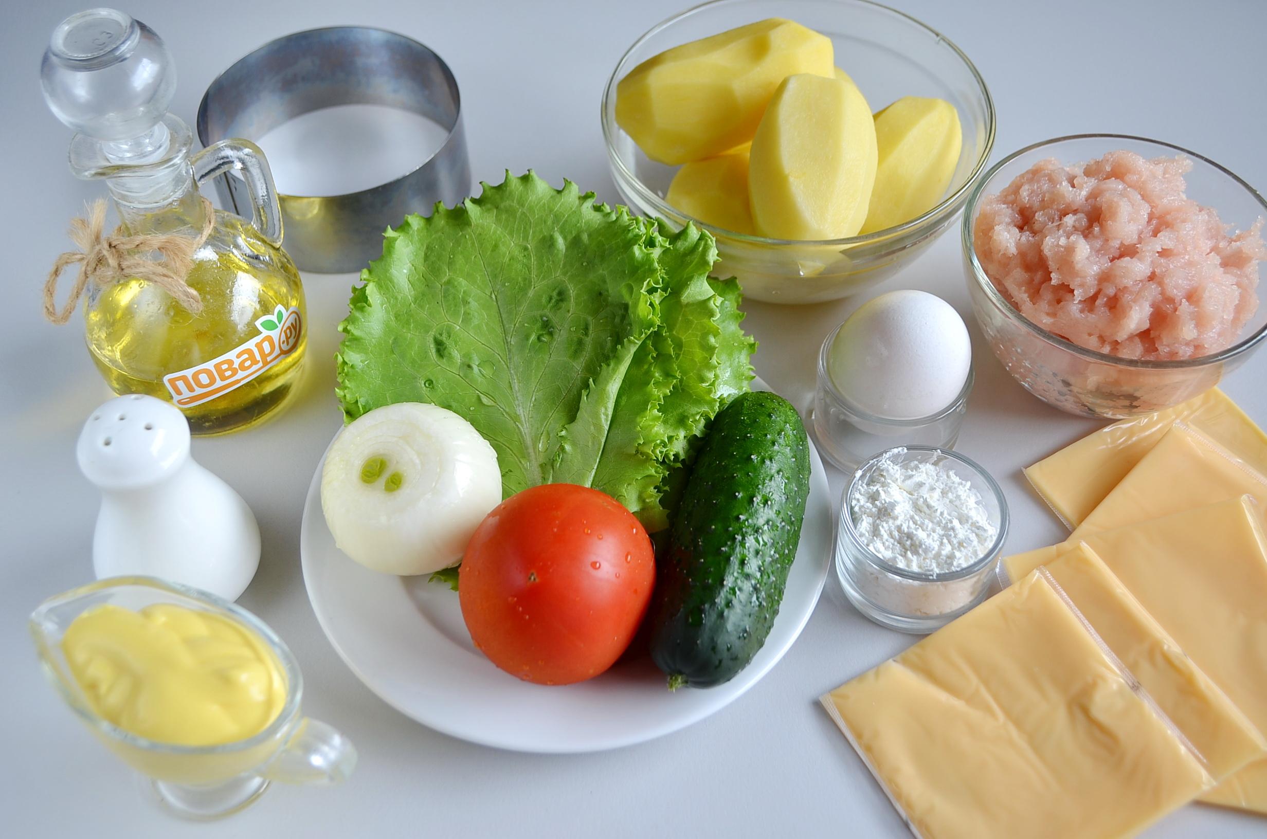 Ингредиенты для картофельного сэндвича