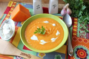 Тыквенный суп со сметаной