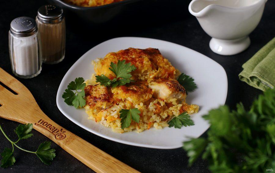 Судак с рисом в сметанном соусе
