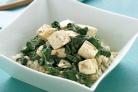 Шпинат с тофу и рисом