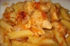 Макароны с куриным филе