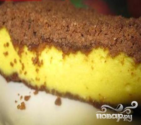 Творожная запеканка в шоколадном штрейзеле