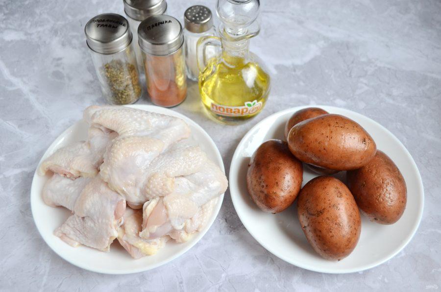 Куриные крылышки с овощами в духовке