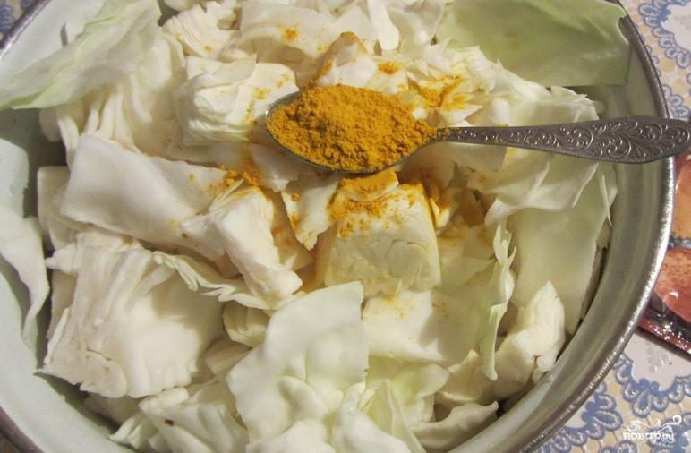 рецепт засолки капусты горячим рассолом быстрого приготовления с карри