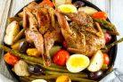 Теплый салат Нисуаз с перепелами