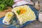 Закусочный торт Наполеон с курицей и грибами