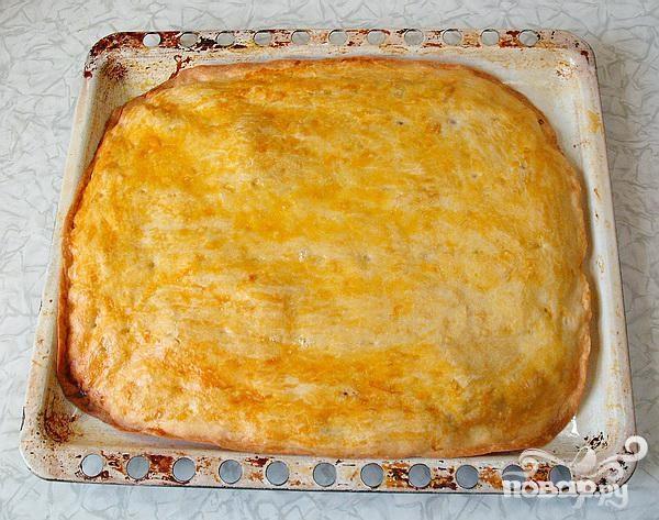 Рецепт Новогодний рецепт пресного пирога с грибами