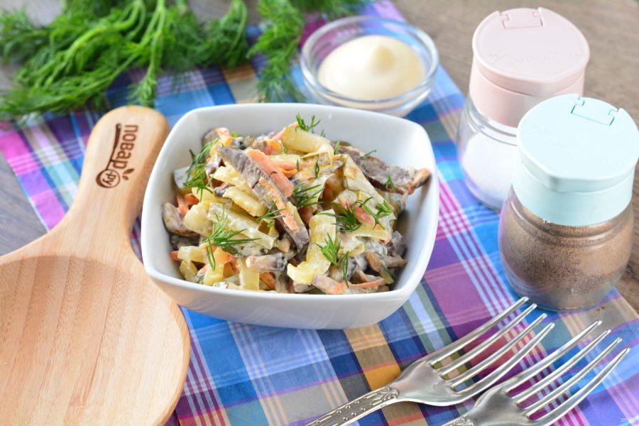 Салат из свиного сердца с грибами