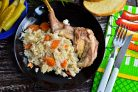 Кролик с рисом в мультиварке