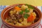 Пшеничная каша с соевым мясом и овощами