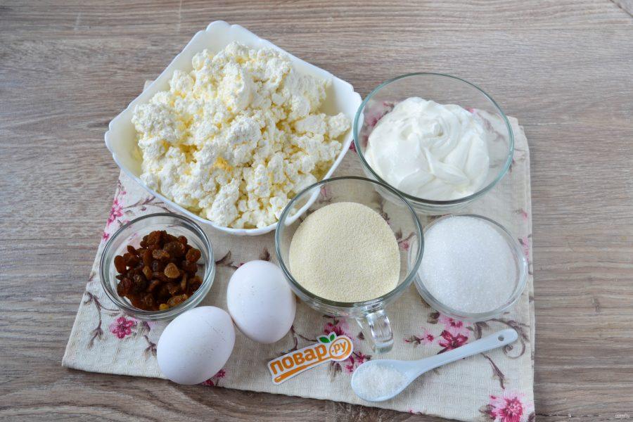 Ингредиенты для творожной запеканки