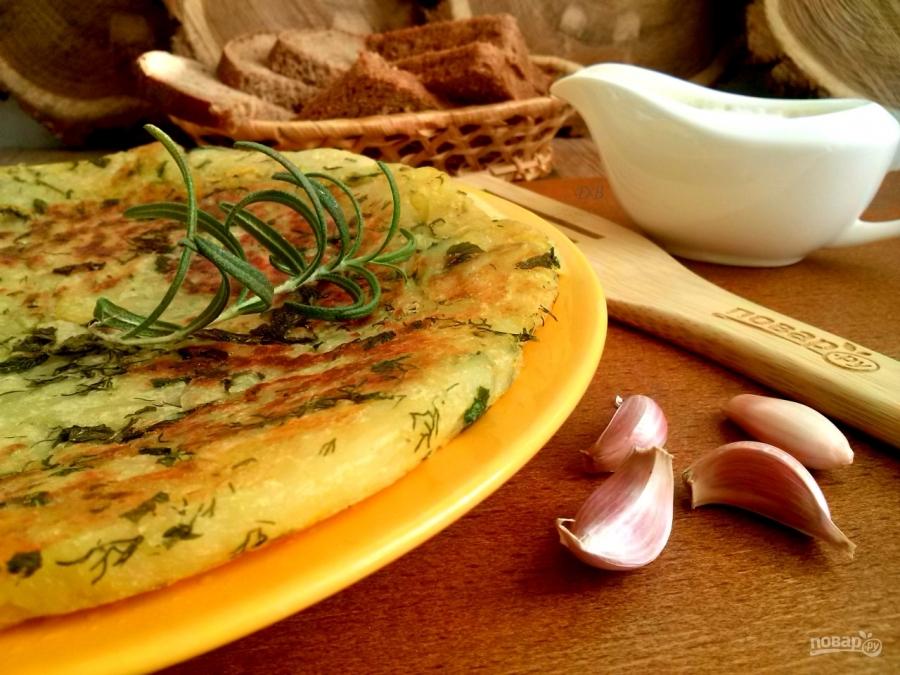 Лепешка из картошки с чесноком