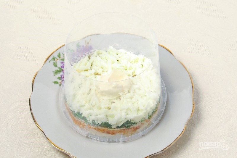 """Салат """"Мимоза"""" (рецепт с рисом)"""
