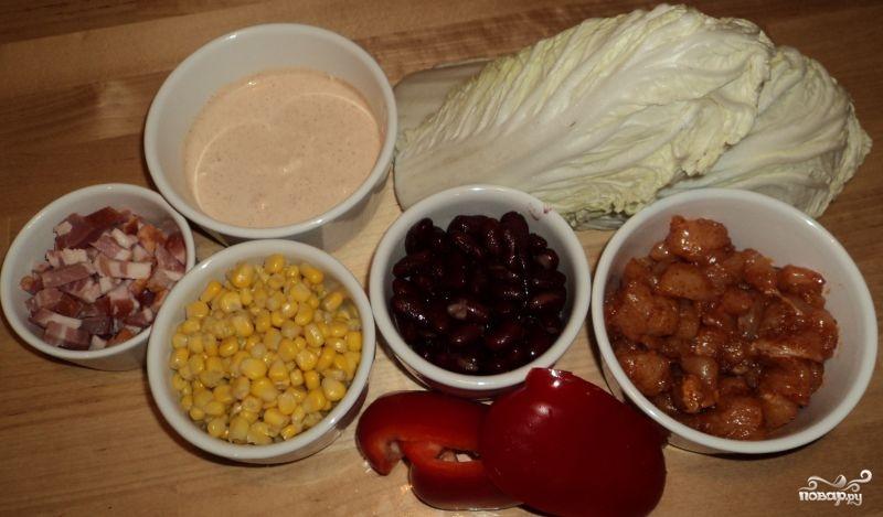 Мясной салат с болгарским перцем
