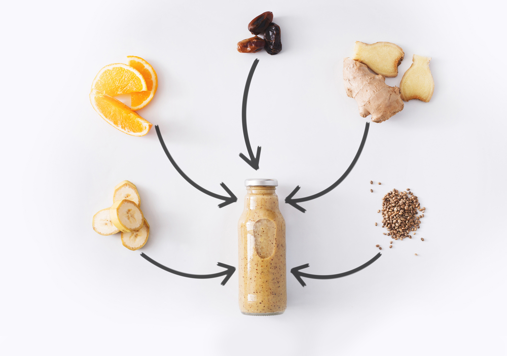 Детокс напиток из имбиря, семян чиа, банана, апельсина и фиников