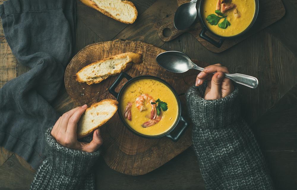 Крем-суп с креветками