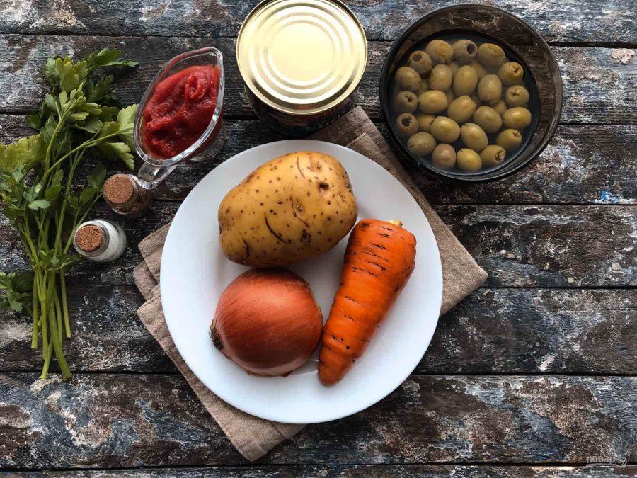 Ингредиенты для томатного супа с рыбой