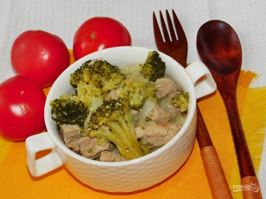 Свинина с брокколи на сковороде со сливками рецепт 9