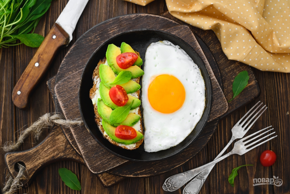 Яичница и сэндвич с авокадо