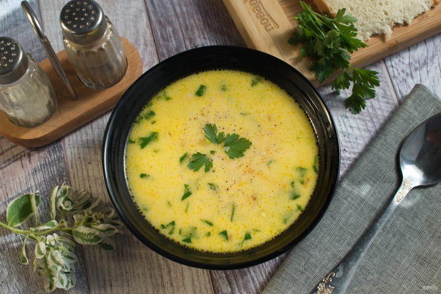 Овощной суп с гречкой и плавленым сыром