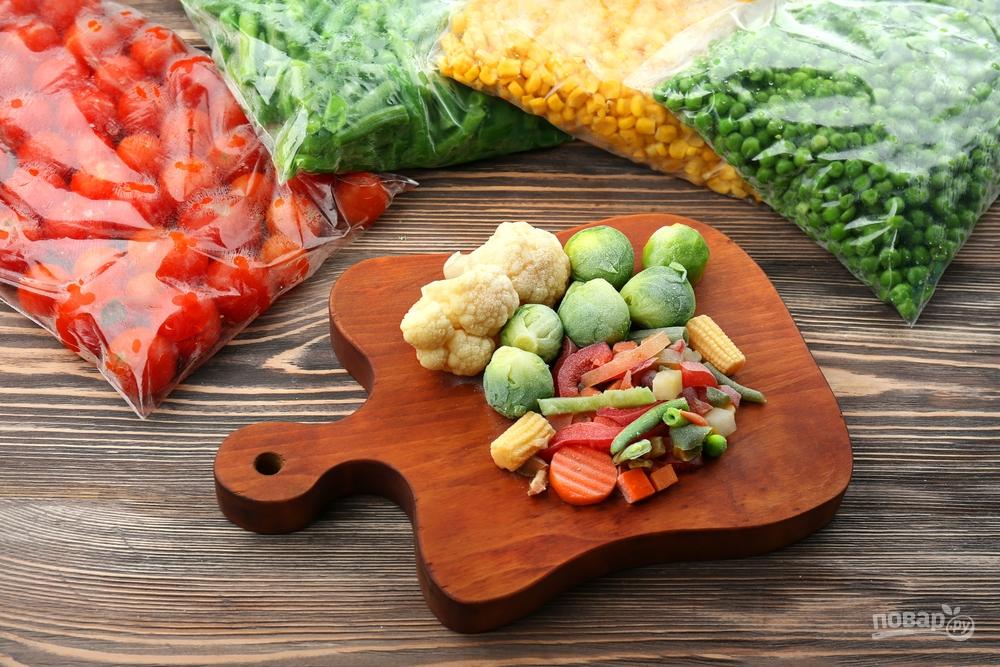 Замороженные овощи: помидоры, кукуруза, фасоль, горошек, цветная и брюсельская капуста, брокколи