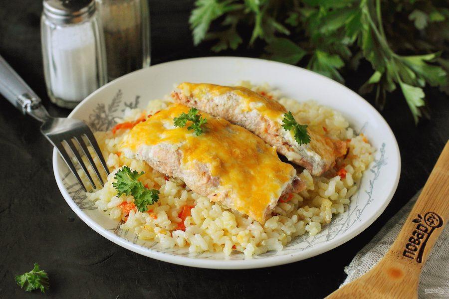 Запеканка из риса и рыбы